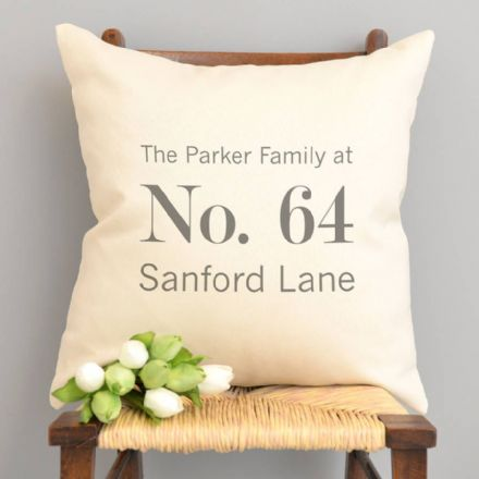 Personalised Address Cushion